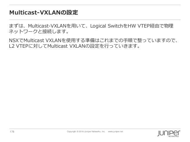 176 Copyright © 2016 Juniper Networks, Inc. www.juniper.net Multicast-VXLANの設定 まずは、Multicast-VXLANを用いて、Logical SwitchをHW V...