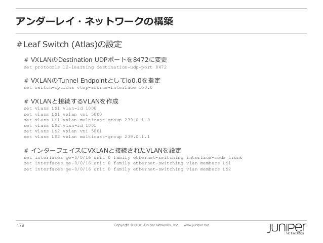 179 Copyright © 2016 Juniper Networks, Inc. www.juniper.net アンダーレイ・ネットワークの構築 #Leaf Switch (Atlas)の設定 # VXLANのDestination U...