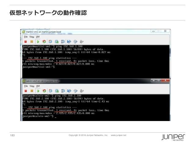 183 Copyright © 2016 Juniper Networks, Inc. www.juniper.net 仮想ネットワークの動作確認