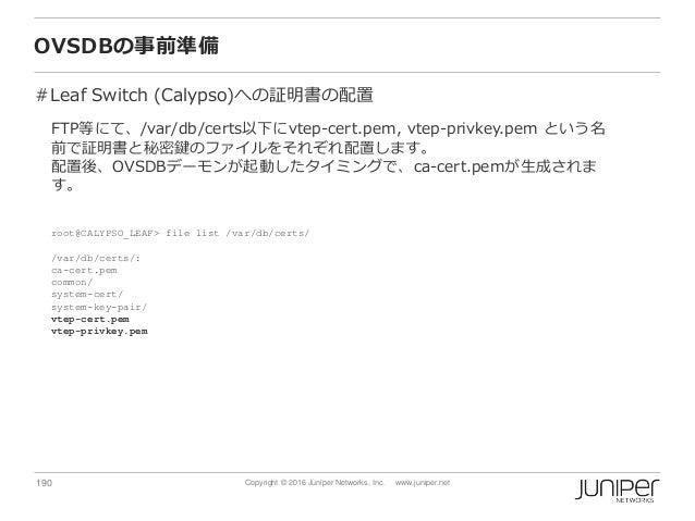 190 Copyright © 2016 Juniper Networks, Inc. www.juniper.net OVSDBの事前準備 #Leaf Switch (Calypso)への証明書の配置 FTP等にて、/var/db/certs...