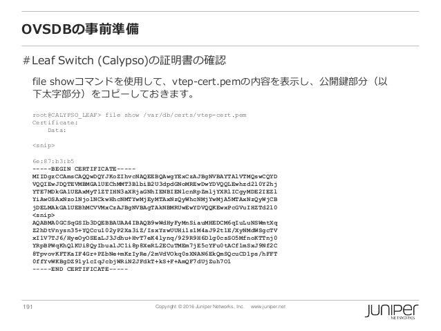 191 Copyright © 2016 Juniper Networks, Inc. www.juniper.net OVSDBの事前準備 #Leaf Switch (Calypso)の証明書の確認 file showコマンドを使用して、vt...