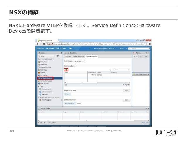 193 Copyright © 2016 Juniper Networks, Inc. www.juniper.net NSXの構築 NSXにHardware VTEPを登録します。Service DefinitionsのHardware De...