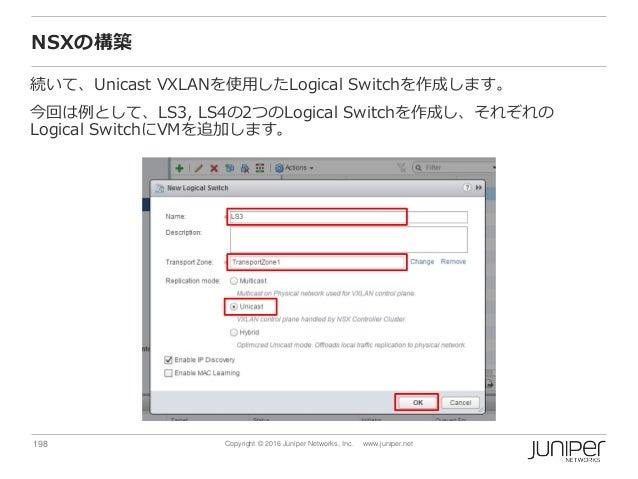 198 Copyright © 2016 Juniper Networks, Inc. www.juniper.net NSXの構築 続いて、Unicast VXLANを使用したLogical Switchを作成します。 今回は例として、LS3...