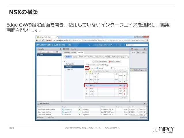 200 Copyright © 2016 Juniper Networks, Inc. www.juniper.net NSXの構築 Edge GWの設定画面を開き、使用していないインターフェイスを選択し、編集 画面を開きます。