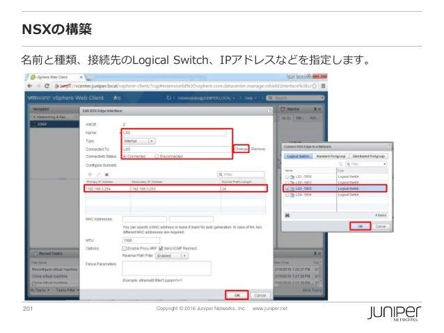 201 Copyright © 2016 Juniper Networks, Inc. www.juniper.net NSXの構築 名前と種類、接続先のLogical Switch、IPアドレスなどを指定します。