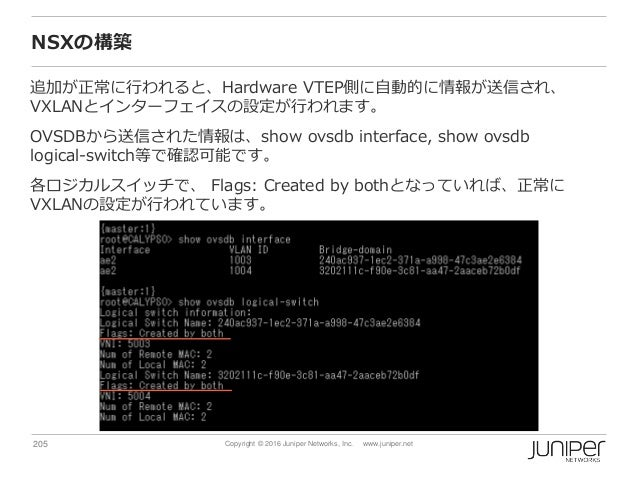 205 Copyright © 2016 Juniper Networks, Inc. www.juniper.net NSXの構築 追加が正常に行われると、Hardware VTEP側に自動的に情報が送信され、 VXLANとインターフェイスの...