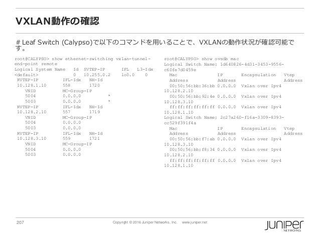 207 Copyright © 2016 Juniper Networks, Inc. www.juniper.net VXLAN動作の確認 #Leaf Switch (Calypso)で以下のコマンドを用いることで、VXLANの動作状況が確認...