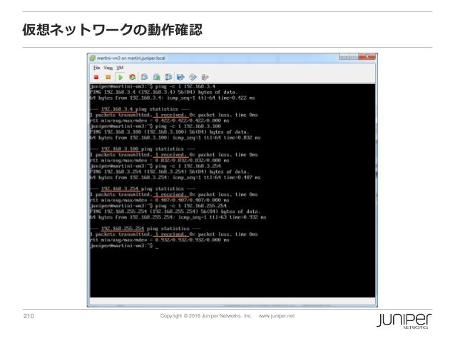 210 Copyright © 2016 Juniper Networks, Inc. www.juniper.net 仮想ネットワークの動作確認