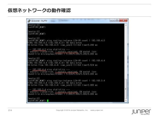 214 Copyright © 2016 Juniper Networks, Inc. www.juniper.net 仮想ネットワークの動作確認