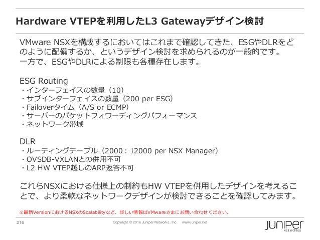216 Copyright © 2016 Juniper Networks, Inc. www.juniper.net Hardware VTEPを利用したL3 Gatewayデザイン検討 VMware NSXを構成するにおいてはこれまで確認し...