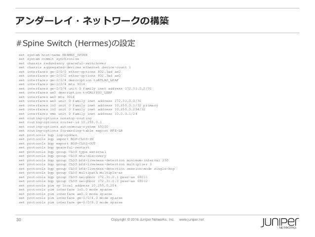 30 Copyright © 2016 Juniper Networks, Inc. www.juniper.net アンダーレイ・ネットワークの構築 #Spine Switch (Hermes)の設定 set system host-name...
