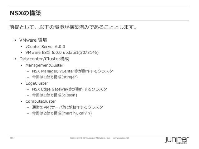 39 Copyright © 2016 Juniper Networks, Inc. www.juniper.net NSXの構築 前提として、以下の環境が構築済みであることとします。  VMware 環境  vCenter Server ...