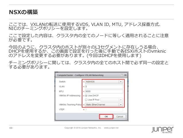 69 Copyright © 2016 Juniper Networks, Inc. www.juniper.net NSXの構築 ここでは、VXLANの転送に使用するVDS, VLAN ID, MTU, アドレス採番方式、 NICのチーミング...