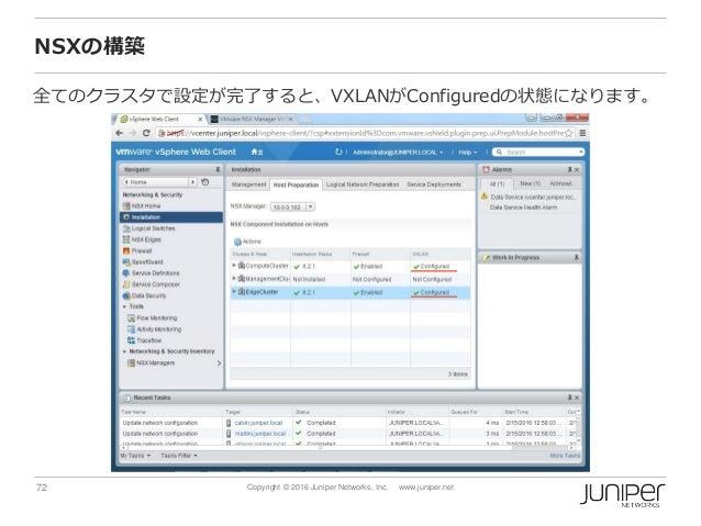 72 Copyright © 2016 Juniper Networks, Inc. www.juniper.net NSXの構築 全てのクラスタで設定が完了すると、VXLANがConfiguredの状態になります。
