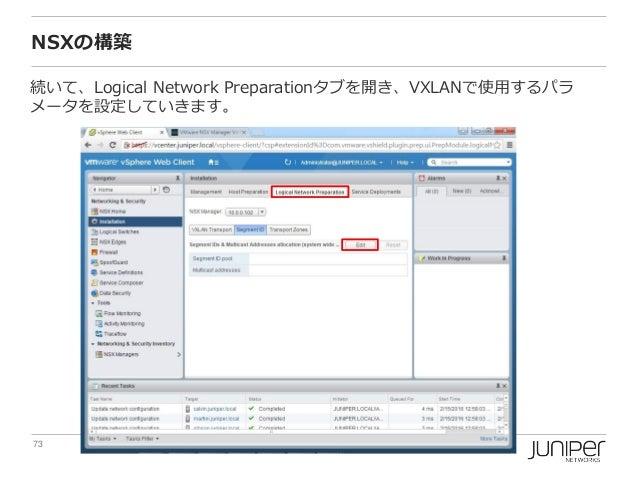 73 Copyright © 2016 Juniper Networks, Inc. www.juniper.net NSXの構築 続いて、Logical Network Preparationタブを開き、VXLANで使用するパラ メータを設定...