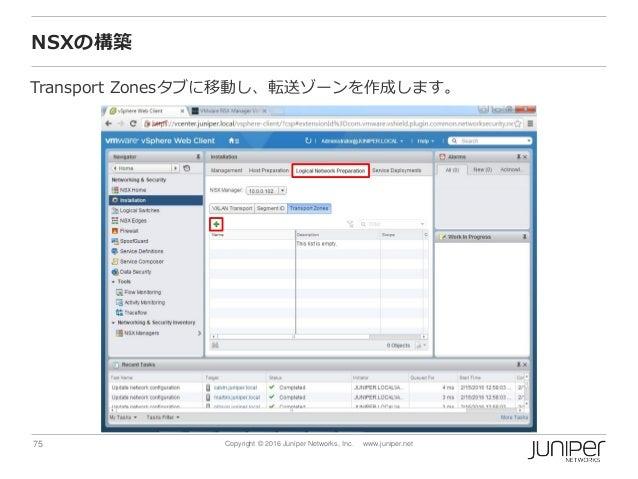 75 Copyright © 2016 Juniper Networks, Inc. www.juniper.net NSXの構築 Transport Zonesタブに移動し、転送ゾーンを作成します。