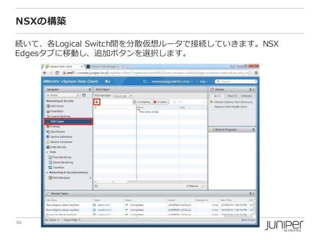 84 Copyright © 2016 Juniper Networks, Inc. www.juniper.net NSXの構築 続いて、各Logical Switch間を分散仮想ルータで接続していきます。NSX Edgesタブに移動し、追加...