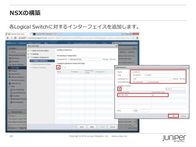 91 Copyright © 2016 Juniper Networks, Inc. www.juniper.net NSXの構築 各Logical Switchに対するインターフェイスを追加します。