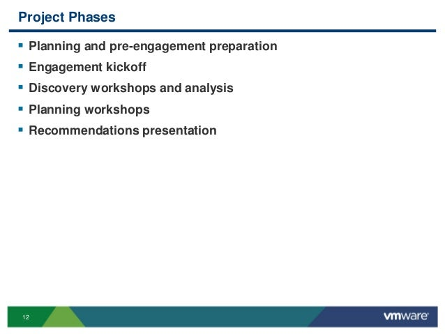 12 Project Phases  Planning and pre-engagement preparation  Engagement kickoff  Discovery workshops and analysis  Plan...