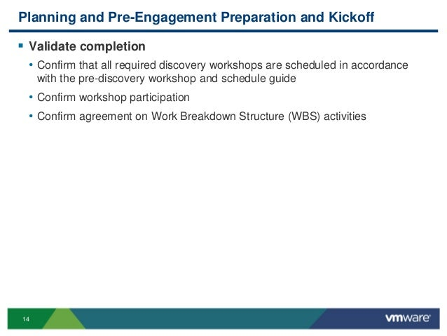 14 Planning and Pre-Engagement Preparation and Kickoff  Validate completion • Confirm that all required discovery worksho...