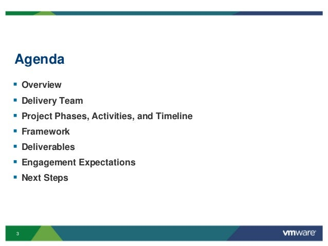3 Agenda  Overview  Delivery Team  Project Phases, Activities, and Timeline  Framework  Deliverables  Engagement Exp...