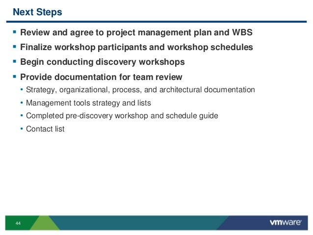 44 Next Steps  Review and agree to project management plan and WBS  Finalize workshop participants and workshop schedule...