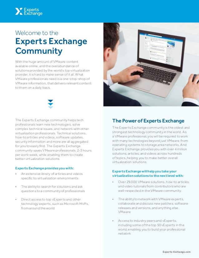 The Experts Exchange community helps tech professionals learn new technologies, solve complex technical issues, and networ...