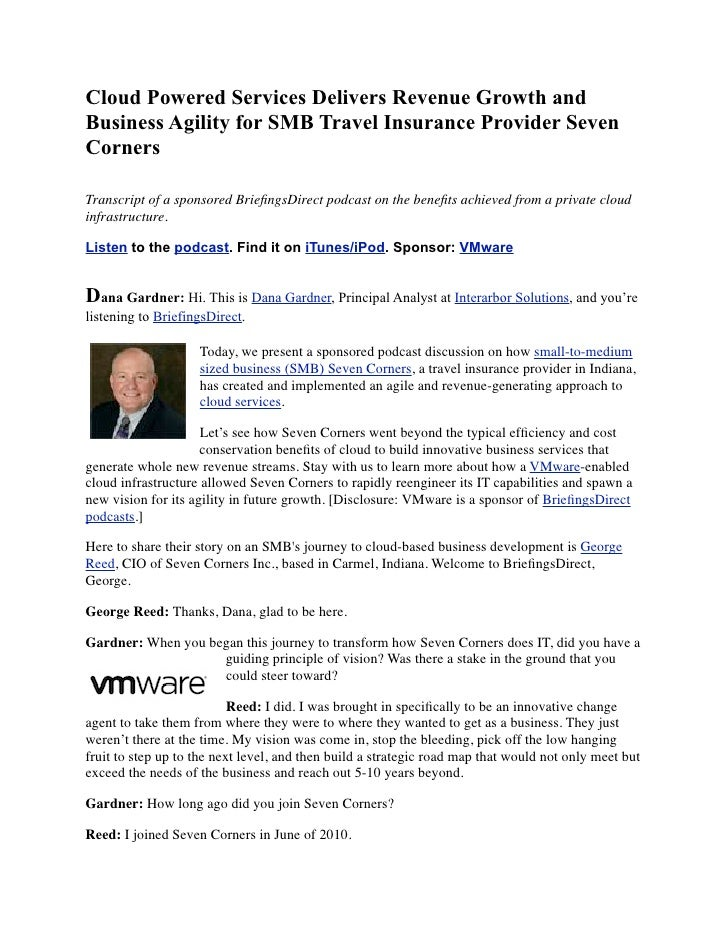 Cloud Powered Services Delivers Revenue Growth andBusiness Agility for SMB Travel Insurance Provider SevenCornersTranscrip...