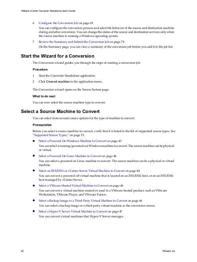 V mware v center converter standalone user's guide