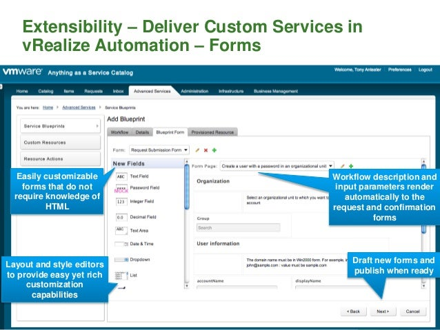 Extensibility – Deliver Custom Services in vRealize Automation – Forms 114 Workflow description and input parameters rende...