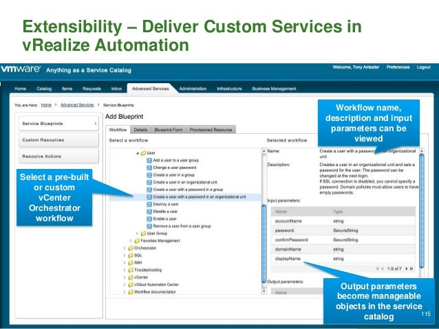 Extensibility – Deliver Custom Services in vRealize Automation Select a pre-built or custom vCenter Orchestrator workflow ...