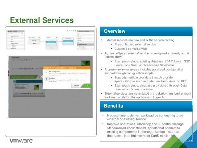 External Services 122 • External services are now part of the service catalog • Pre-configured external service • Custom e...