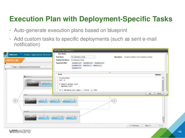 Execution Plan with Deployment-Specific Tasks • Auto-generate execution plans based on blueprint • Add custom tasks to spe...