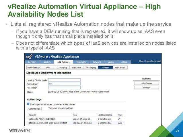 vRealize Automation Virtual Appliance – High Availability Nodes List • Lists all registered vRealize Automation nodes that...