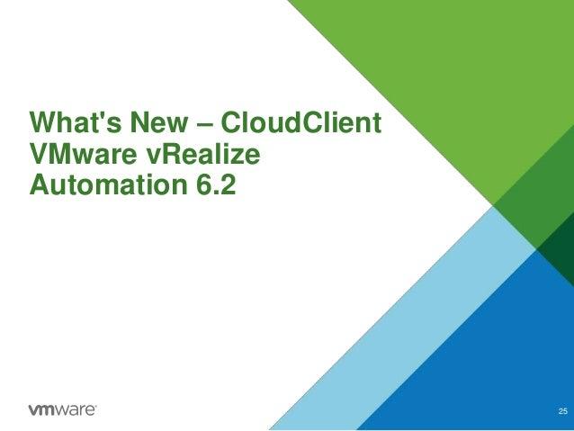 What's New – CloudClient VMware vRealize Automation 6.2 25