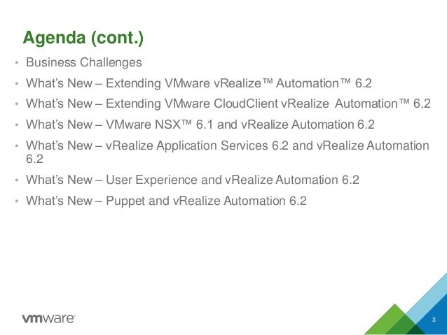 Agenda (cont.) • Business Challenges • What's New – Extending VMware vRealize™ Automation™ 6.2 • What's New – Extending VM...