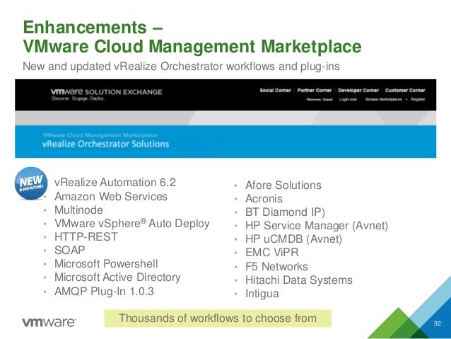 Enhancements – VMware Cloud Management Marketplace 32 New and updated vRealize Orchestrator workflows and plug-ins • vReal...