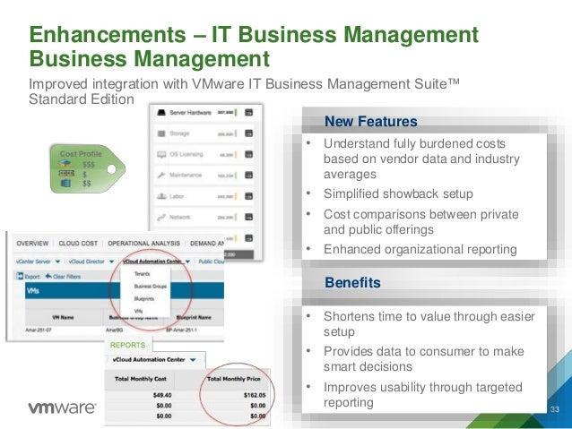 Enhancements – IT Business Management Business Management 33 Improved integration with VMware IT Business Management Suite...