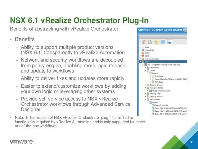 NSX 6.1 vRealize Orchestrator Plug-In • Benefits – Ability to support multiple product versions (NSX 6.1) transparently to...