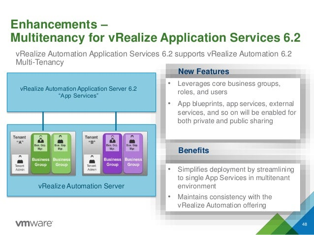 Enhancements – Multitenancy for vRealize Application Services 6.2 vRealize Automation Application Services 6.2 supports vR...