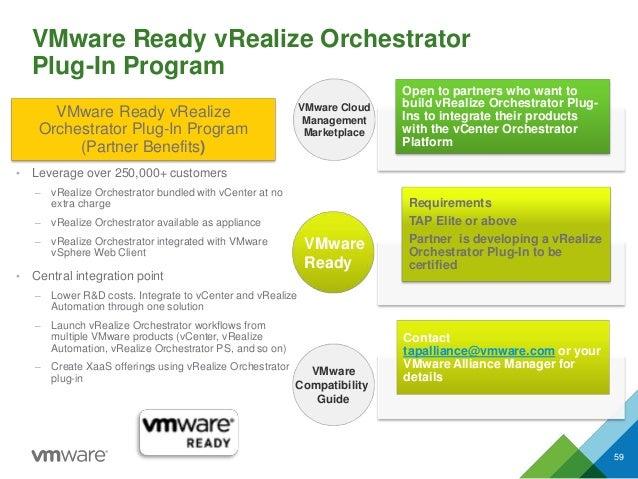 VMware Ready vRealize Orchestrator Plug-In Program 59 VMware Compatibility Guide VMware Cloud Management Marketplace VMwar...