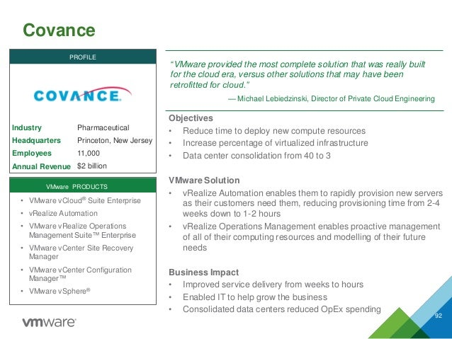 """Covance 92 Industry Headquarters Employees Annual Revenue """"VMware provided the most complete solution that was really buil..."""