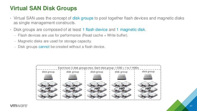 Virtual SAN Disk Groups • Virtual SAN uses the concept of disk groups to pool together flash devices and magnetic disks as...