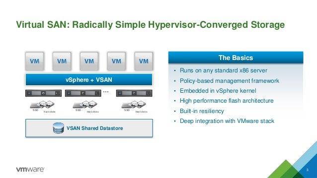 Virtual SAN: Radically Simple Hypervisor-Converged Storage 3 vSphere + VSAN … • Runs on any standard x86 server • Policy-b...