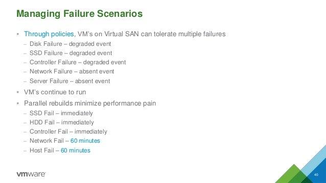 Managing Failure Scenarios  Through policies, VM's on Virtual SAN can tolerate multiple failures – Disk Failure – degrade...