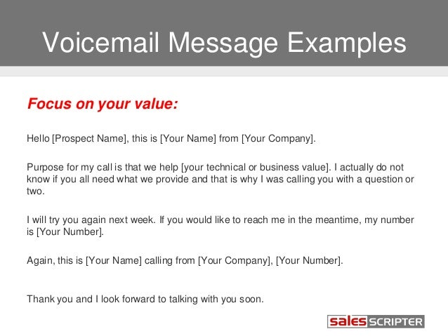 voice message template - how to deal with voicemail during sales prospecting