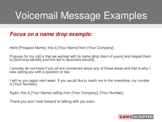 How to deal with voicemail during sales prospecting voicemail message examples m4hsunfo Gallery