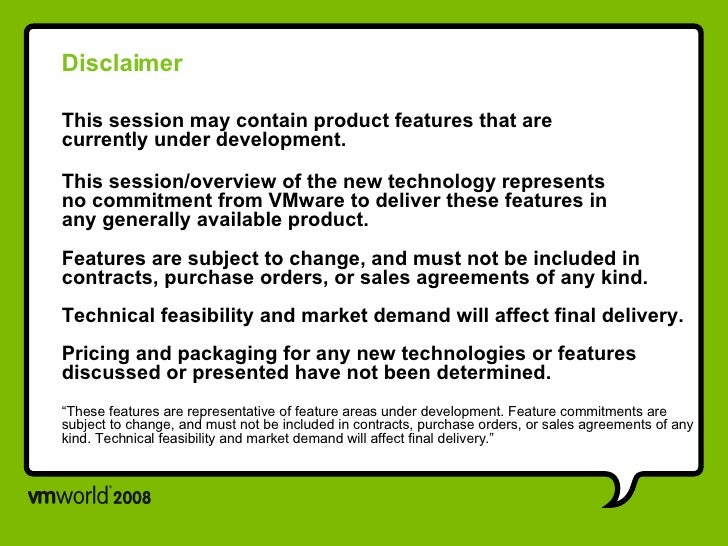 Disclaimer This session may contain product features that are  currently under development. This session/overview of the n...
