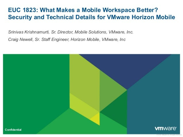 © 2012 VMware Inc. All rights reserved Confidential EUC 1823: What Makes a Mobile Workspace Better? Security and Technical...