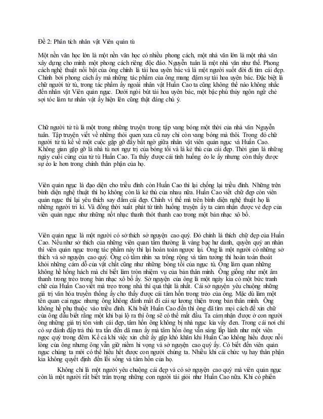 Đề 2: Phân tích nhân vật Viên quản tù Một nền văn học lớn là một nền văn học có nhiều phong cách, một nhà văn lớn là một n...